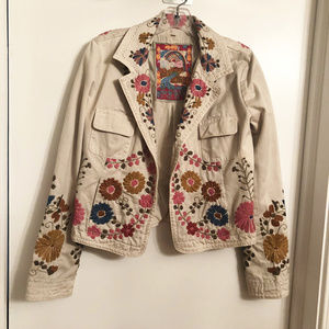 JOHNNY WAS Embroidered Cotton Jacket Size S